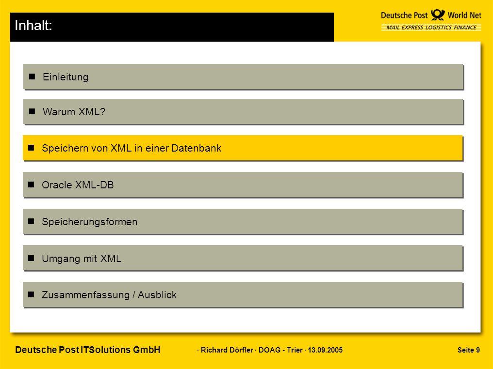 Seite 10 · Richard Dörfler · DOAG - Trier · 13.09.2005 Deutsche Post ITSolutions GmbH nClob –Keine XML-Funktionalität nötig –Kein Wissen über XML –Keine Prüfung möglich nRelational –Keine XML-Funktionalität nötig –Zerlegung meist außerhalb –Wiederherstellung kompliziert –Attribut oder Element –Reihenfolge –Kommentare Speicherung von XML in einer Datenbank Klassische Verfahren: Nativ als Dokument Relational Nativ Objektrelational Clob