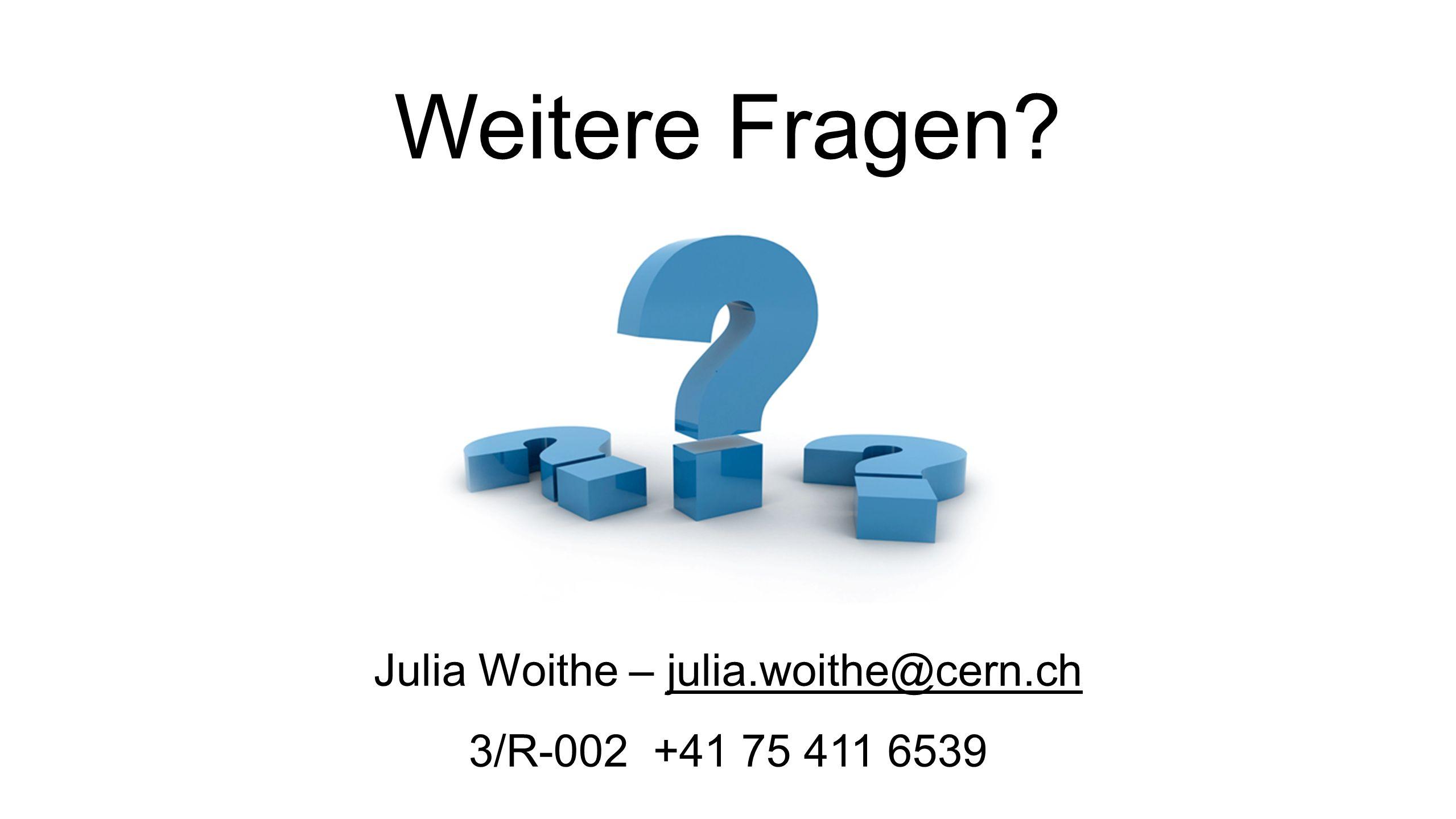 Weitere Fragen Julia Woithe – julia.woithe@cern.ch 3/R-002 +41 75 411 6539 12