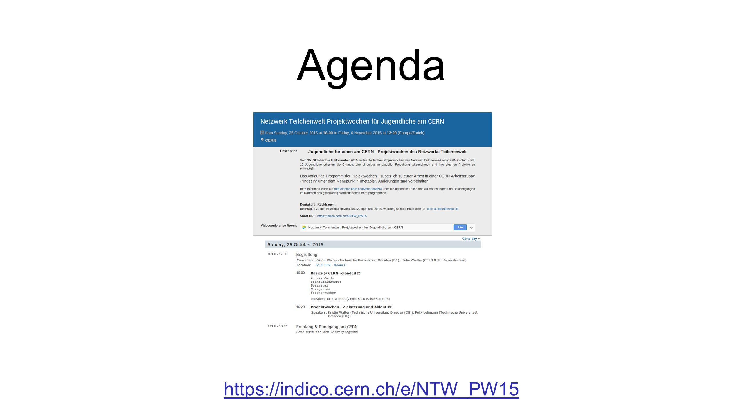 https://indico.cern.ch/e/NTW_PW15 Agenda