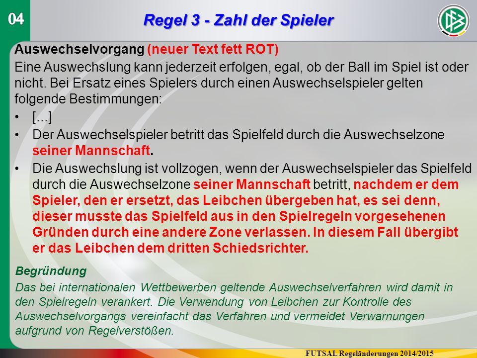FUTSAL Regeländerungen 2014/2015 Regel 4 - Ausrüstung der Spieler Werbung auf der Ausrüstung (neuer Text, ersetzt den Wortlaut von S.