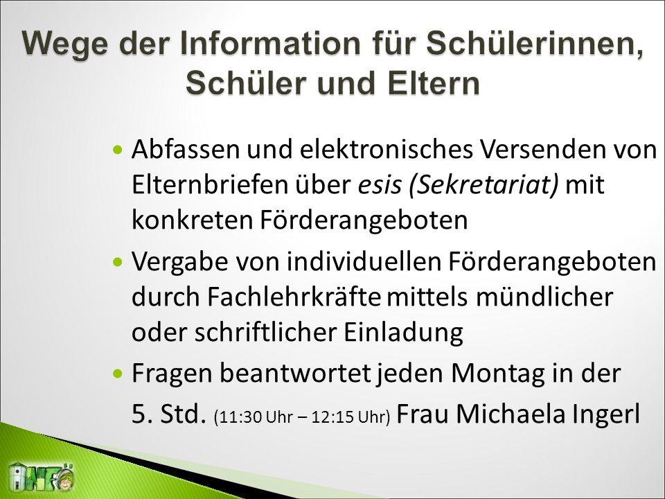 Abfassen und elektronisches Versenden von Elternbriefen über esis (Sekretariat) mit konkreten Förderangeboten Vergabe von individuellen Förderangebote