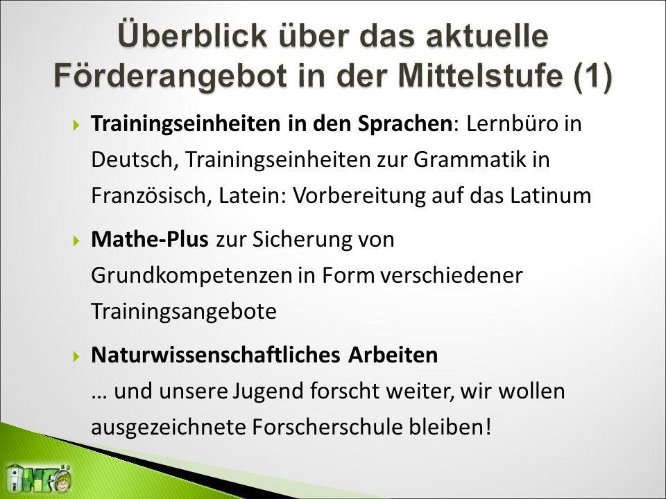  Trainingseinheiten in den Sprachen: Lernbüro in Deutsch, Trainingseinheiten zur Grammatik in Französisch, Latein: Vorbereitung auf das Latinum  Mat
