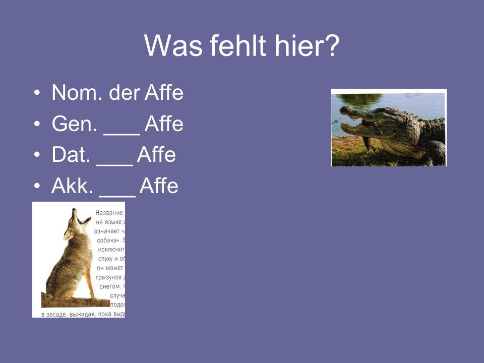 Was fehlt hier Nom. der Affe Gen. ___ Affe Dat. ___ Affe Akk. ___ Affe