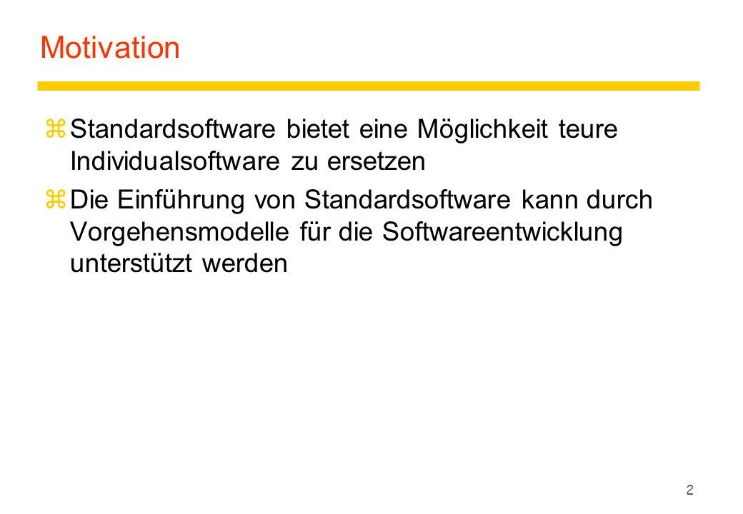 2 Motivation zStandardsoftware bietet eine Möglichkeit teure Individualsoftware zu ersetzen zDie Einführung von Standardsoftware kann durch Vorgehensm