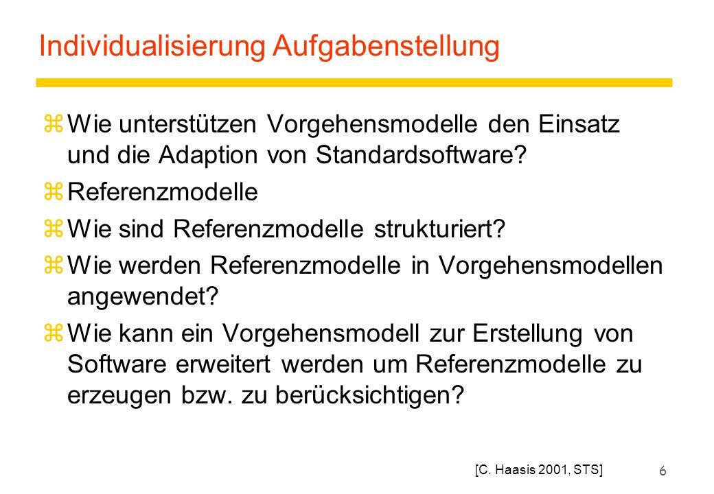 6 Individualisierung Aufgabenstellung zWie unterstützen Vorgehensmodelle den Einsatz und die Adaption von Standardsoftware? zReferenzmodelle zWie sind