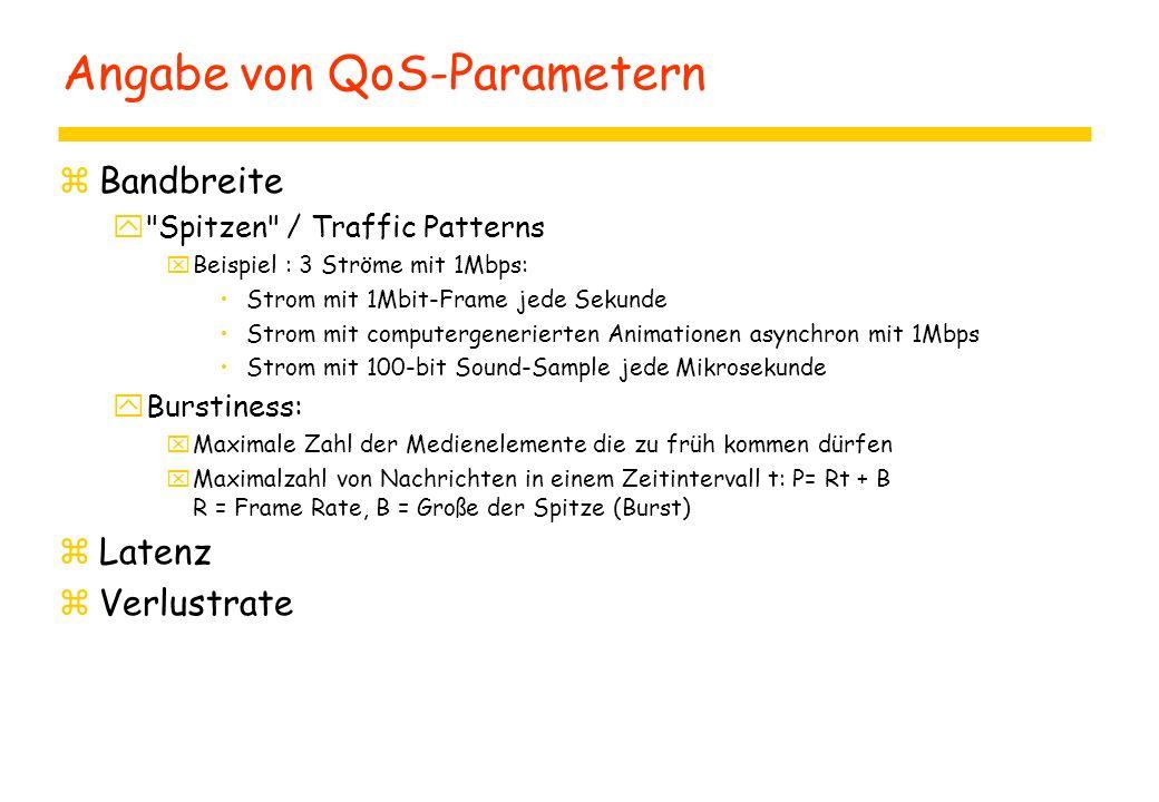 Angabe von QoS-Parametern zBandbreite y Spitzen / Traffic Patterns xBeispiel : 3 Ströme mit 1Mbps: Strom mit 1Mbit-Frame jede Sekunde Strom mit computergenerierten Animationen asynchron mit 1Mbps Strom mit 100-bit Sound-Sample jede Mikrosekunde yBurstiness: xMaximale Zahl der Medienelemente die zu früh kommen dürfen xMaximalzahl von Nachrichten in einem Zeitintervall t: P= Rt + B R = Frame Rate, B = Große der Spitze (Burst) zLatenz zVerlustrate