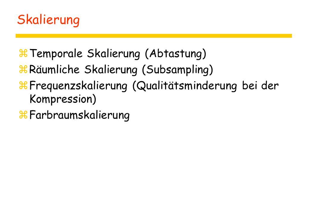 Skalierung zTemporale Skalierung (Abtastung) zRäumliche Skalierung (Subsampling) zFrequenzskalierung (Qualitätsminderung bei der Kompression) zFarbraumskalierung