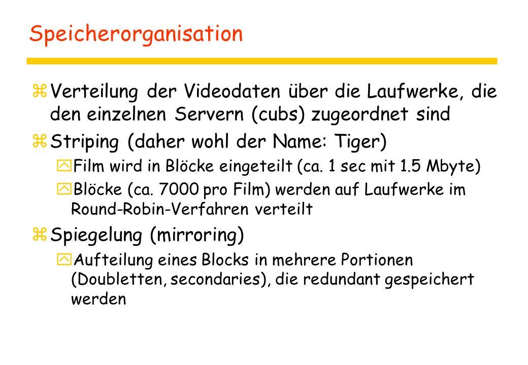 Speicherorganisation zVerteilung der Videodaten über die Laufwerke, die den einzelnen Servern (cubs) zugeordnet sind zStriping (daher wohl der Name: Tiger) yFilm wird in Blöcke eingeteilt (ca.