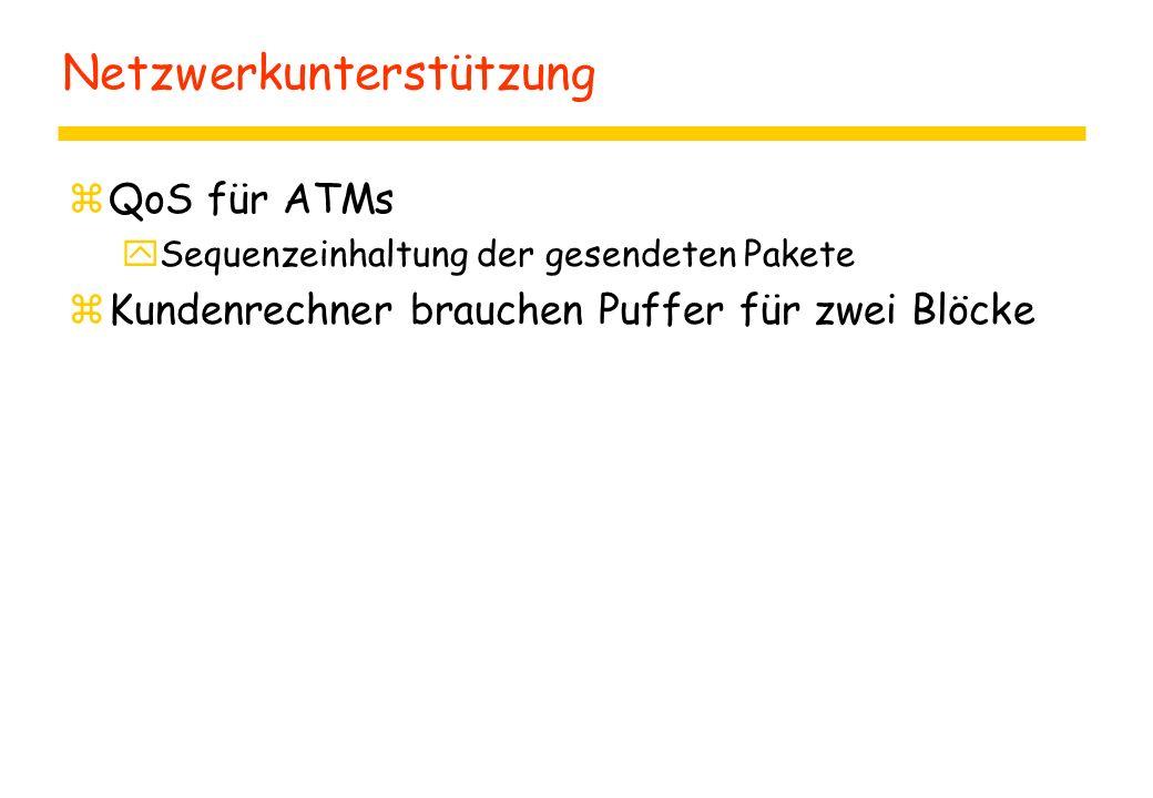 Netzwerkunterstützung zQoS für ATMs ySequenzeinhaltung der gesendeten Pakete zKundenrechner brauchen Puffer für zwei Blöcke