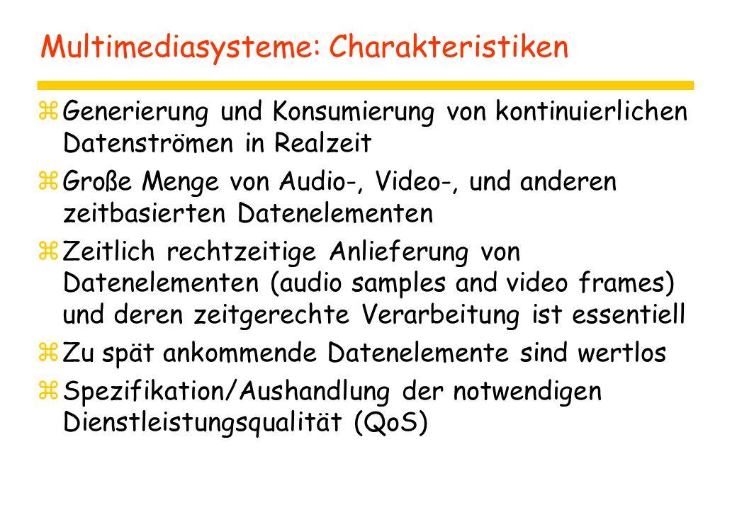 Multimediasysteme: Charakteristiken zGenerierung und Konsumierung von kontinuierlichen Datenströmen in Realzeit zGroße Menge von Audio-, Video-, und anderen zeitbasierten Datenelementen zZeitlich rechtzeitige Anlieferung von Datenelementen (audio samples and video frames) und deren zeitgerechte Verarbeitung ist essentiell zZu spät ankommende Datenelemente sind wertlos zSpezifikation/Aushandlung der notwendigen Dienstleistungsqualität (QoS)