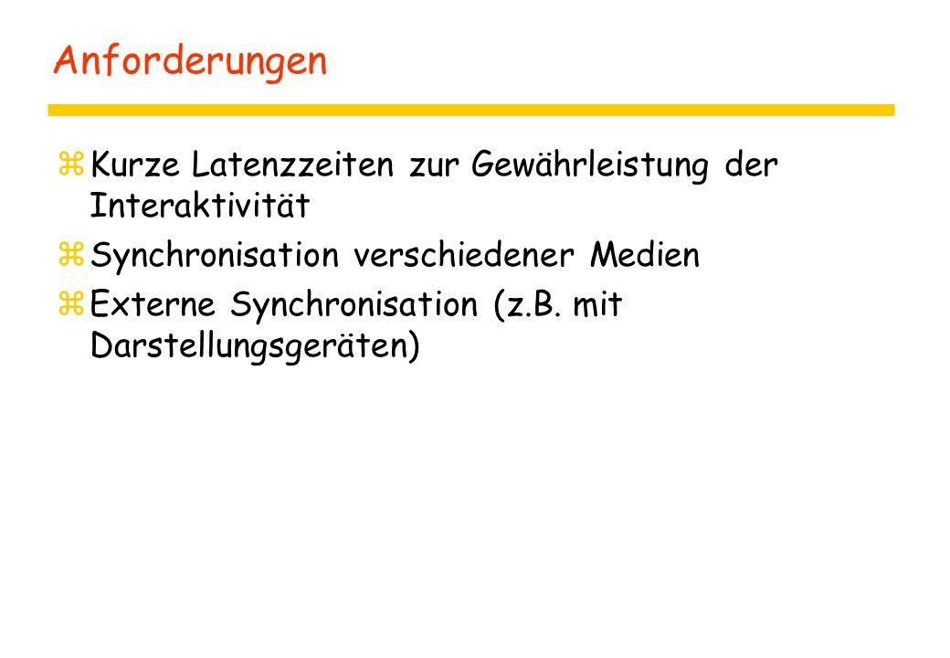 Anforderungen zKurze Latenzzeiten zur Gewährleistung der Interaktivität zSynchronisation verschiedener Medien zExterne Synchronisation (z.B.