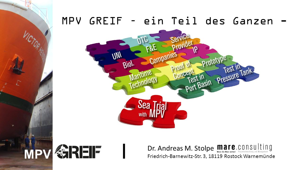MPV GREIF – ein Teil des Ganzen - Dr. Andreas M. Stolpe Friedrich-Barnewitz-Str.