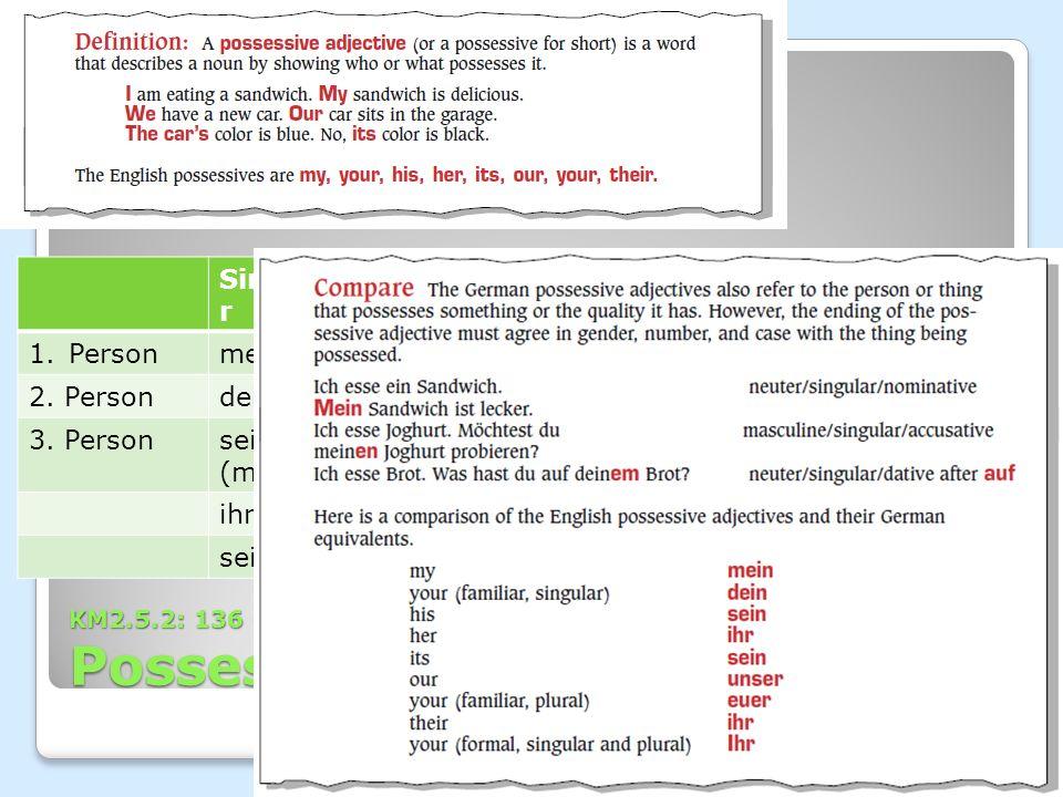 KM2.5.2: 136 Grammatik Possessiv Singula r Plural 1.Personmeinunser 2. Persondeineuer 3. Personsein (m.) ihr (pl.), Ihr (formell) ihr (f.) sein (n.) W