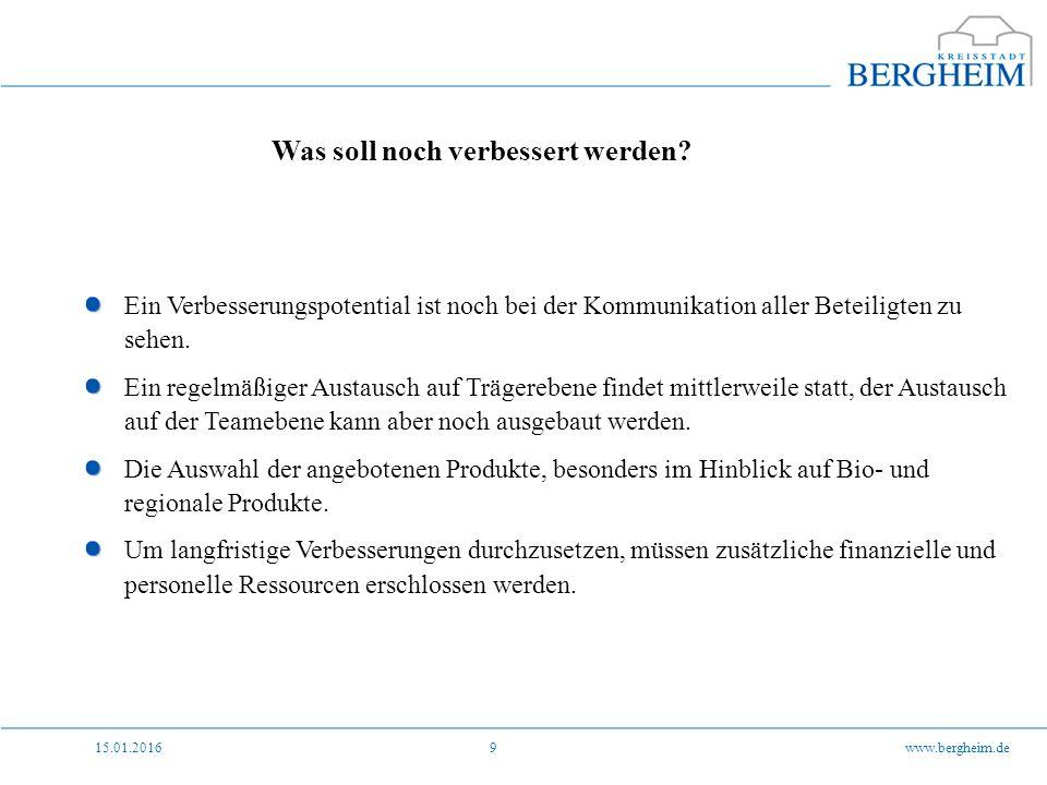 15.01.2016www.bergheim.de9 Was soll noch verbessert werden.
