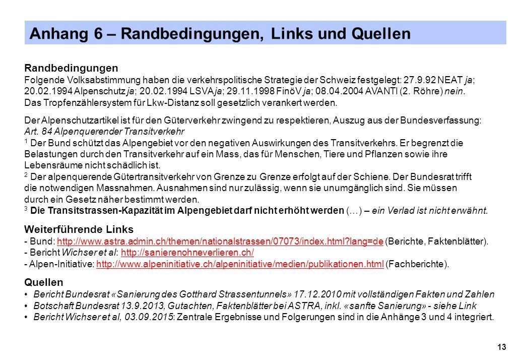 Anhang 6 – Randbedingungen, Links und Quellen Randbedingungen Folgende Volksabstimmung haben die verkehrspolitische Strategie der Schweiz festgelegt: