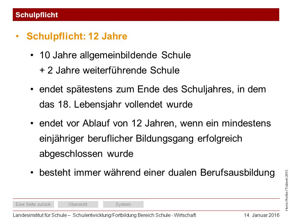 Landesinstitut für Schule – Schulentwicklung/Fortbildung Bereich Schule - Wirtschaft Eine Seite zurückÜbersichtSystem Hons / Kolbe / Tisborn 2015 14.