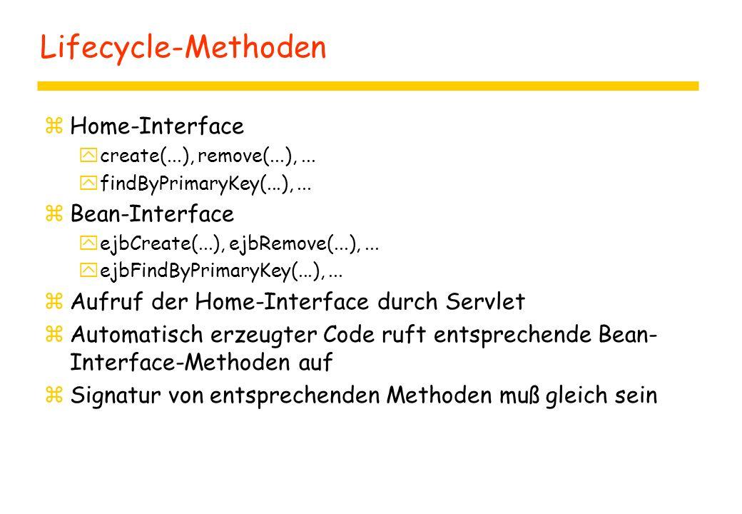 Lifecycle-Methoden zHome-Interface ycreate(...), remove(...),... yfindByPrimaryKey(...),... zBean-Interface yejbCreate(...), ejbRemove(...),... yejbFi