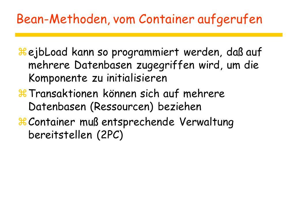 Bean-Methoden, vom Container aufgerufen zejbLoad kann so programmiert werden, daß auf mehrere Datenbasen zugegriffen wird, um die Komponente zu initialisieren zTransaktionen können sich auf mehrere Datenbasen (Ressourcen) beziehen zContainer muß entsprechende Verwaltung bereitstellen (2PC)