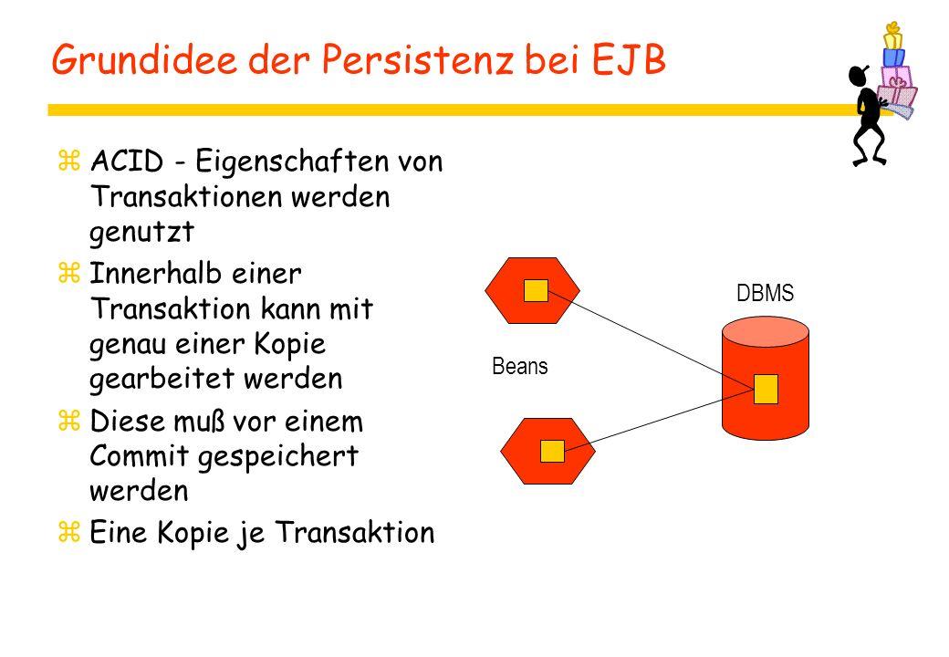 Grundidee der Persistenz bei EJB zACID - Eigenschaften von Transaktionen werden genutzt zInnerhalb einer Transaktion kann mit genau einer Kopie gearbeitet werden zDiese muß vor einem Commit gespeichert werden zEine Kopie je Transaktion DBMS Beans