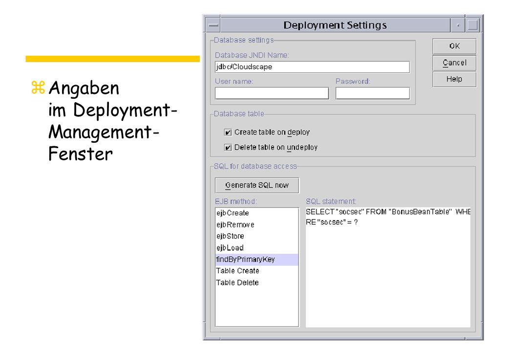 zAngaben im Deployment- Management- Fenster