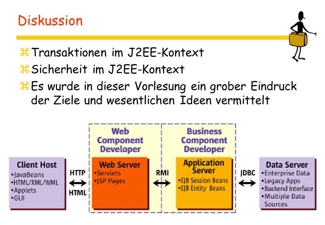 Diskussion zTransaktionen im J2EE-Kontext zSicherheit im J2EE-Kontext zEs wurde in dieser Vorlesung ein grober Eindruck der Ziele und wesentlichen Ideen vermittelt