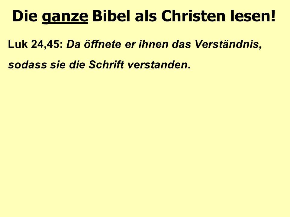 Luk 24,45: Da öffnete er ihnen das Verständnis, sodass sie die Schrift verstanden. Die ganze Bibel als Christen lesen!