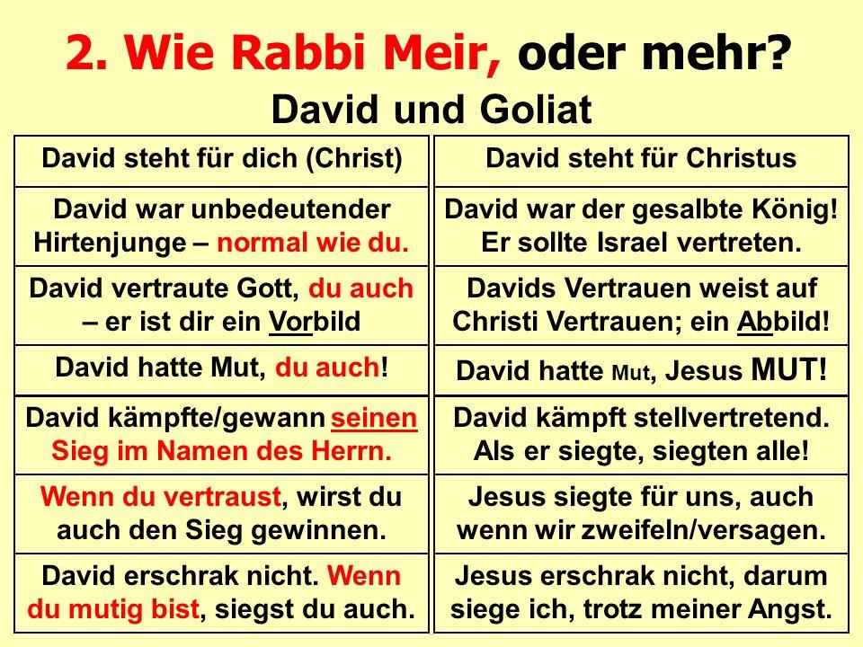 2. Wie Rabbi Meir, oder mehr? David und Goliat David steht für dich (Christ) David war unbedeutender Hirtenjunge – normal wie du. David vertraute Gott