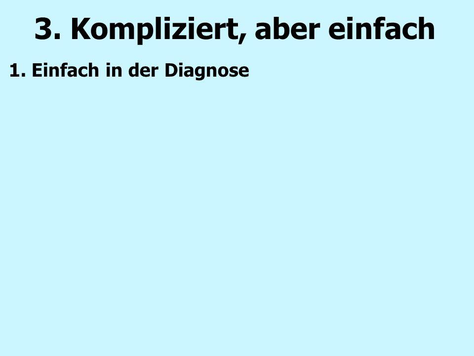 1. Einfach in der Diagnose 3. Kompliziert, aber einfach