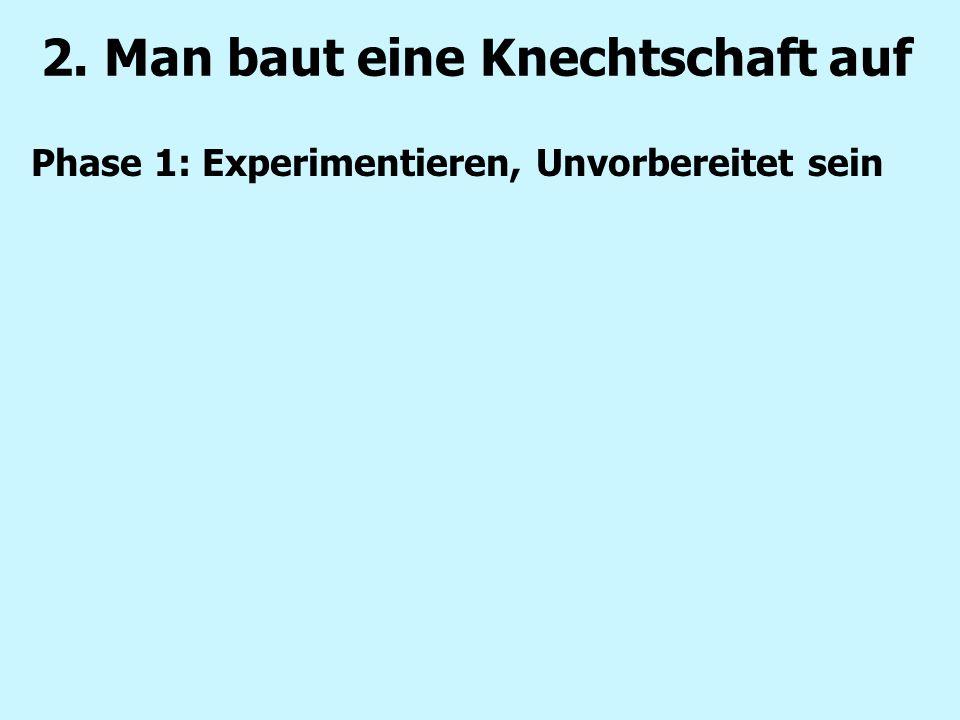 2. Man baut eine Knechtschaft auf Phase 1: Experimentieren, Unvorbereitet sein