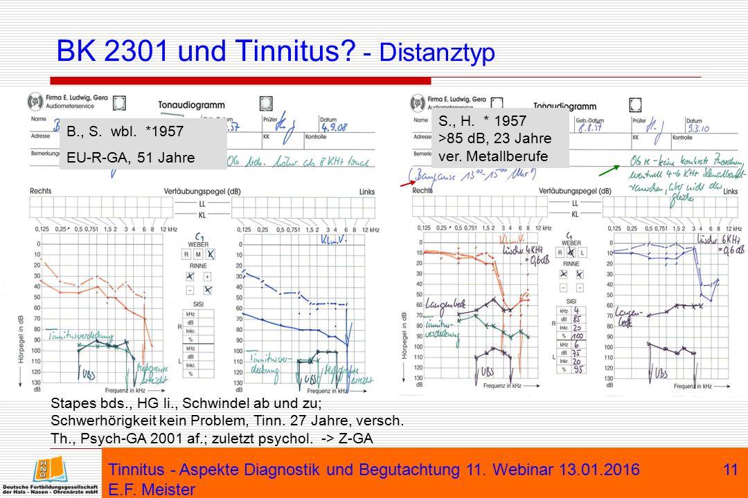 Tinnitus - Aspekte Diagnostik und Begutachtung 11. Webinar 13.01.2016 E.F. Meister 11 BK 2301 und Tinnitus? - Distanztyp B., S. wbl. *1957 EU-R-GA, 51