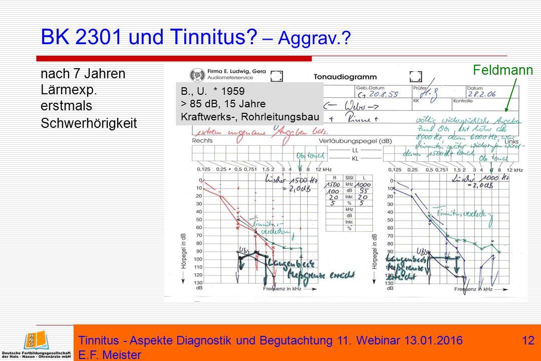 Tinnitus - Aspekte Diagnostik und Begutachtung 11. Webinar 13.01.2016 E.F. Meister 12 BK 2301 und Tinnitus? – Aggrav.? nach 7 Jahren Lärmexp. erstmals