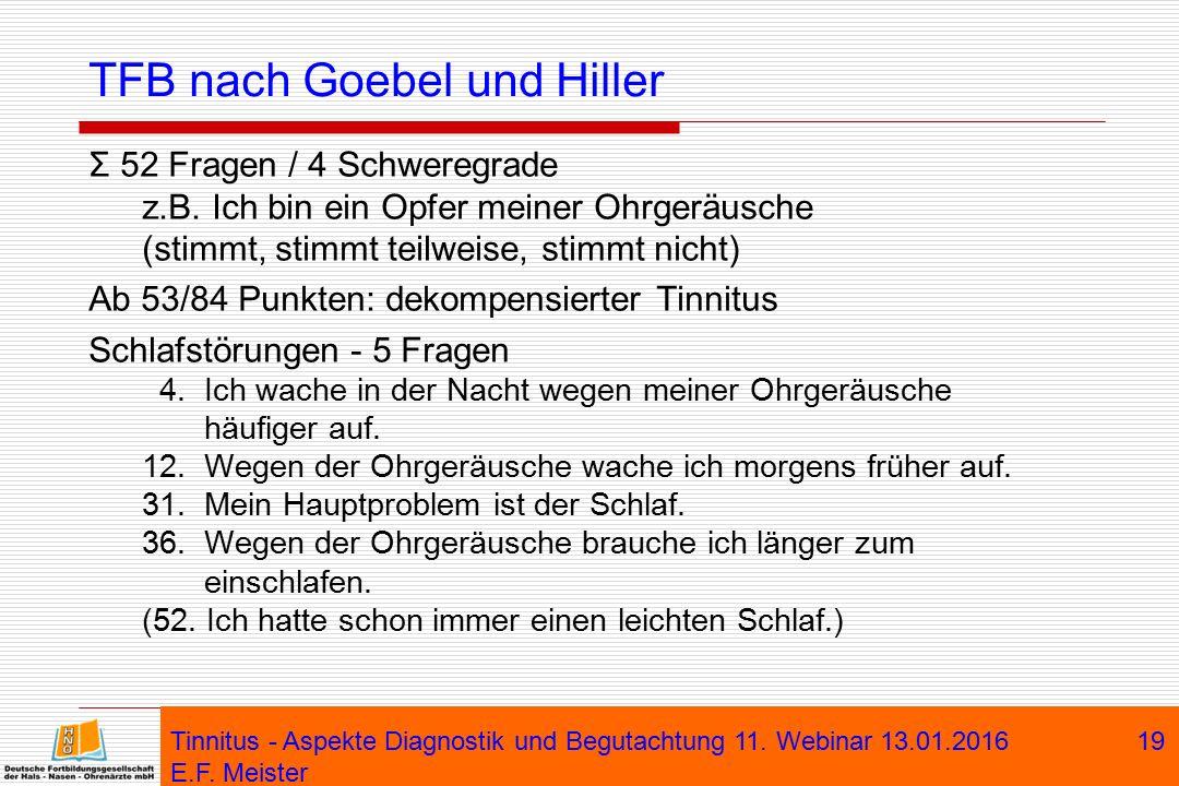 TFB nach Goebel und Hiller Σ 52 Fragen / 4 Schweregrade z.B. Ich bin ein Opfer meiner Ohrgeräusche (stimmt, stimmt teilweise, stimmt nicht) Ab 53/84 P