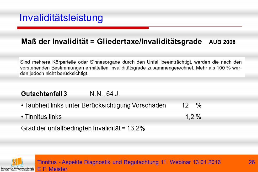 Tinnitus - Aspekte Diagnostik und Begutachtung 11. Webinar 13.01.2016 E.F. Meister 26 Invaliditätsleistung Maß der Invalidität = Gliedertaxe/Invalidit