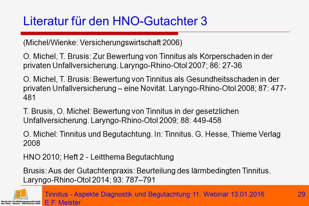 Tinnitus - Aspekte Diagnostik und Begutachtung 11. Webinar 13.01.2016 E.F. Meister 29 Literatur für den HNO-Gutachter 3 (Michel/Wienke: Versicherungsw