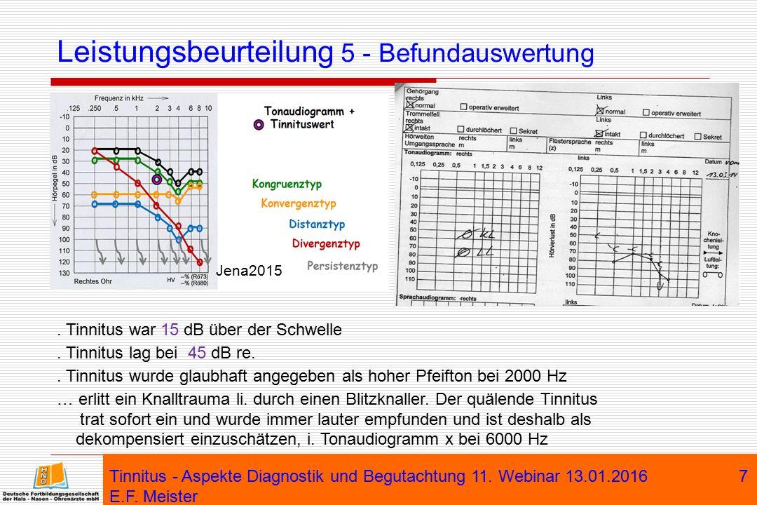 Leistungsbeurteilung 5 - Befundauswertung Tinnitus - Aspekte Diagnostik und Begutachtung 11. Webinar 13.01.2016 E.F. Meister 7 Jena2015. Tinnitus war