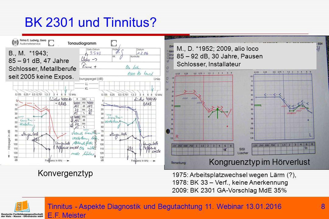 Tinnitus - Aspekte Diagnostik und Begutachtung 11. Webinar 13.01.2016 E.F. Meister 8 BK 2301 und Tinnitus? M., D. *1952; 2009, alio loco 85 – 92 dB, 3