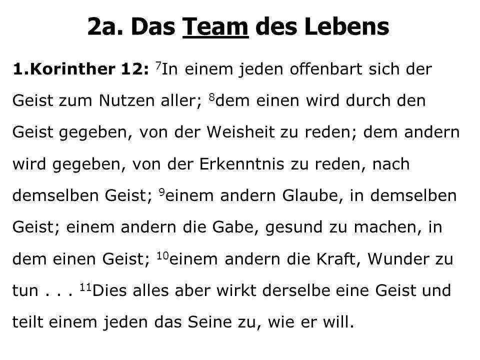 2a. Das Team des Lebens 1.Korinther 12: 7 In einem jeden offenbart sich der Geist zum Nutzen aller; 8 dem einen wird durch den Geist gegeben, von der
