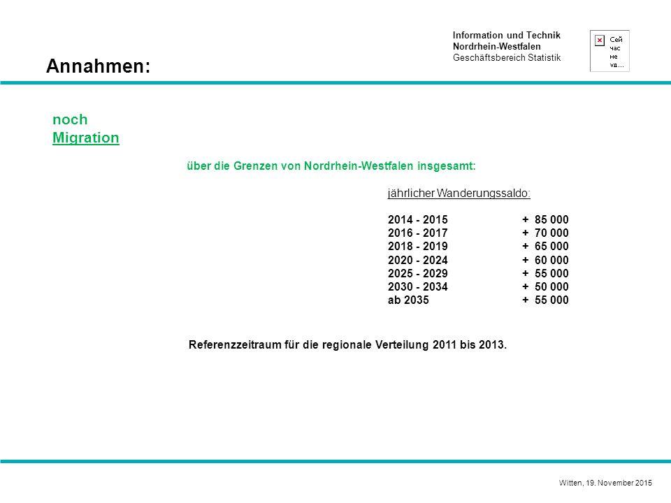 Information und Technik Nordrhein-Westfalen Geschäftsbereich Statistik Annahmen: noch Migration über die Grenzen von Nordrhein-Westfalen insgesamt: jährlicher Wanderungssaldo: 2014 - 2015+ 85 000 2016 - 2017+ 70 000 2018 - 2019+ 65 000 2020 - 2024+ 60 000 2025 - 2029 + 55 000 2030 - 2034 + 50 000 ab 2035+ 55 000 Referenzzeitraum für die regionale Verteilung 2011 bis 2013.