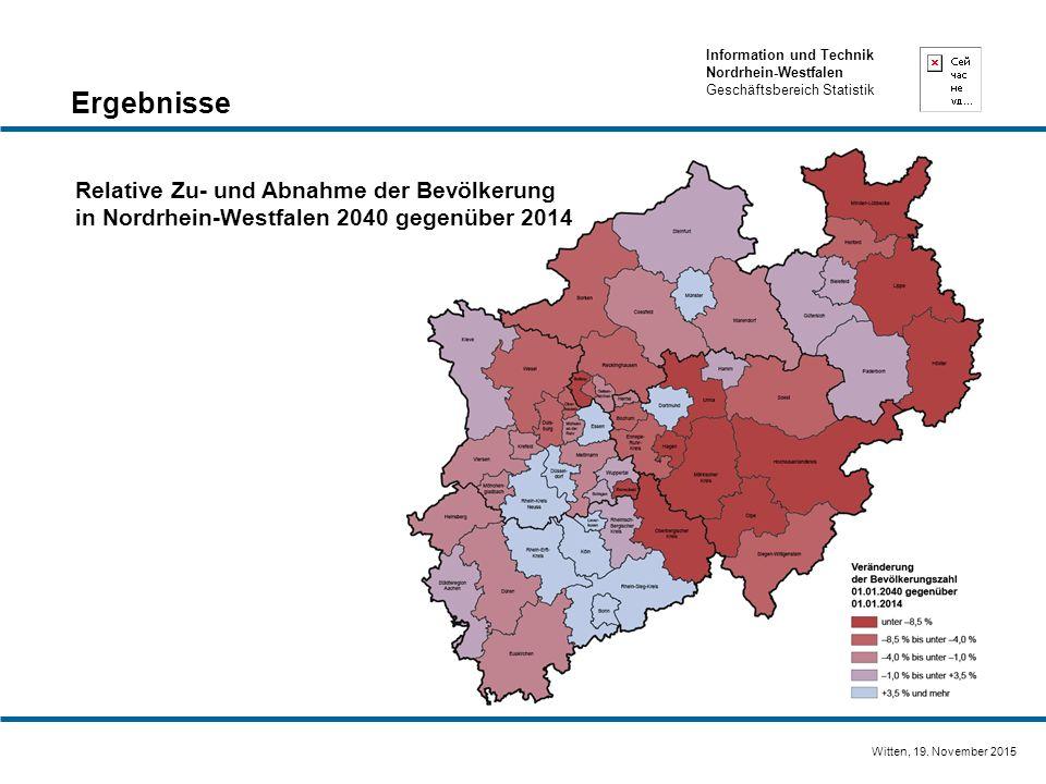 Information und Technik Nordrhein-Westfalen Geschäftsbereich Statistik Witten, 19. November 2015 Relative Zu- und Abnahme der Bevölkerung in Nordrhein