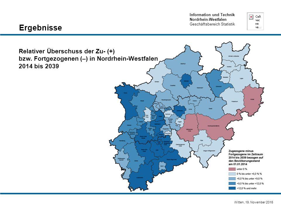 Information und Technik Nordrhein-Westfalen Geschäftsbereich Statistik Witten, 19. November 2015 Relativer Überschuss der Zu- (+) bzw. Fortgezogenen (