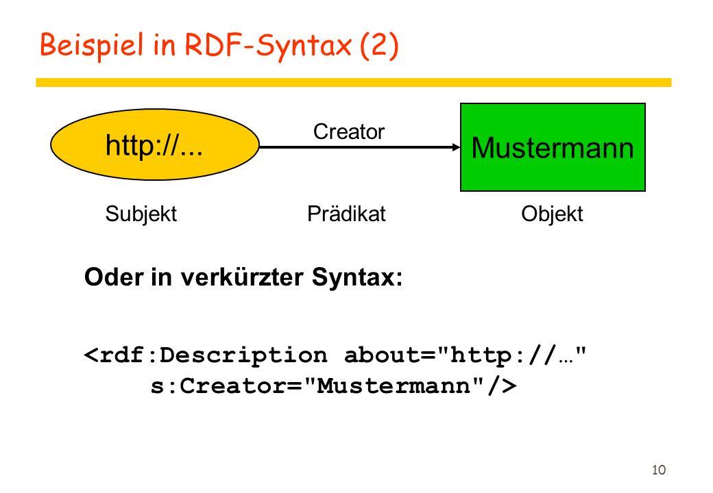 10 http://... Mustermann SubjektObjekt Creator Prädikat Oder in verkürzter Syntax: Beispiel in RDF-Syntax (2)