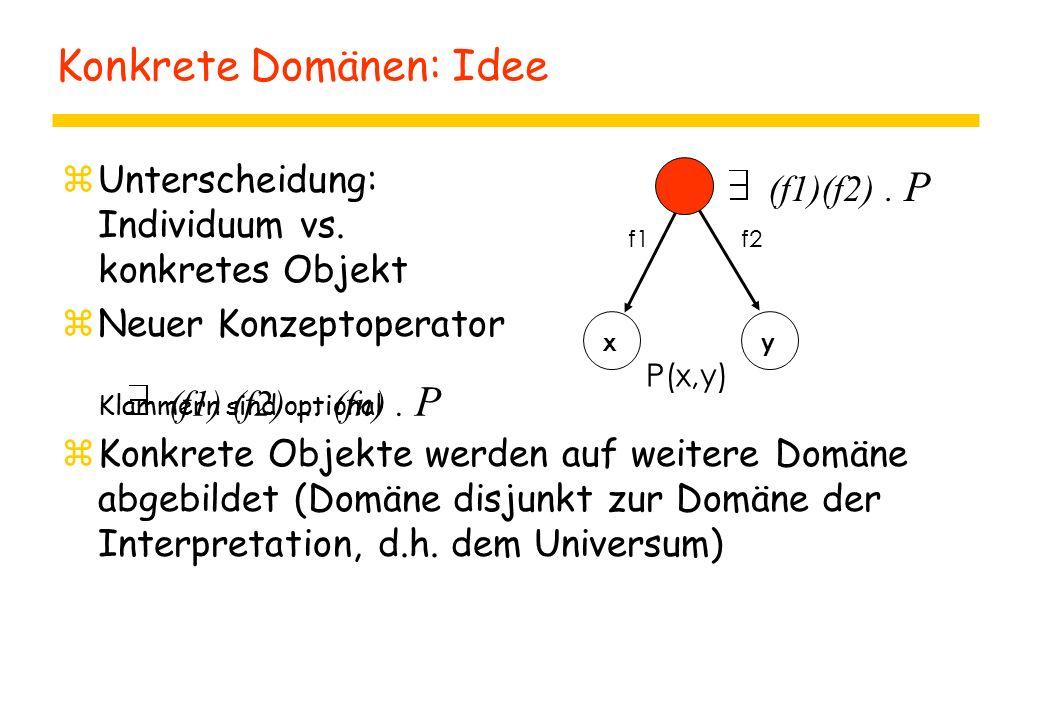 Konkrete Domänen: Idee zUnterscheidung: Individuum vs. konkretes Objekt zNeuer Konzeptoperator Klammern sind optional zKonkrete Objekte werden auf wei