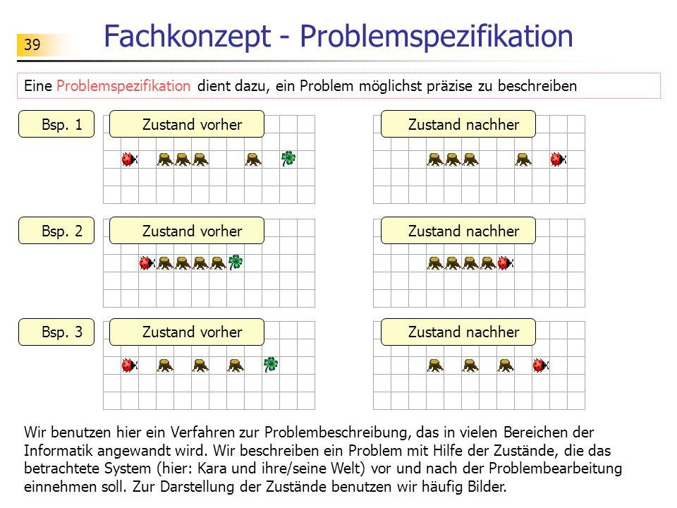 39 Fachkonzept - Problemspezifikation Eine Problemspezifikation dient dazu, ein Problem möglichst präzise zu beschreiben Wir benutzen hier ein Verfahr