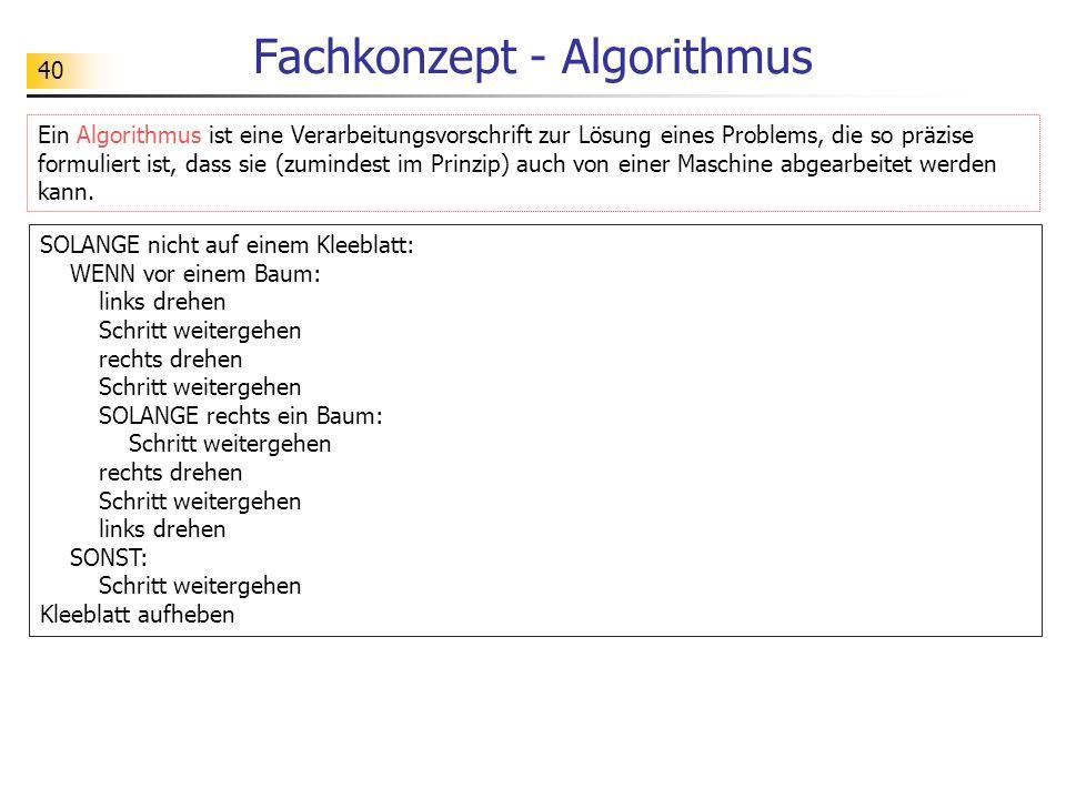 40 Fachkonzept - Algorithmus Ein Algorithmus ist eine Verarbeitungsvorschrift zur Lösung eines Problems, die so präzise formuliert ist, dass sie (zumi