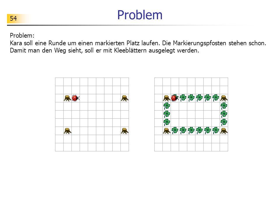 54 Problem Problem: Kara soll eine Runde um einen markierten Platz laufen. Die Markierungspfosten stehen schon. Damit man den Weg sieht, soll er mit K