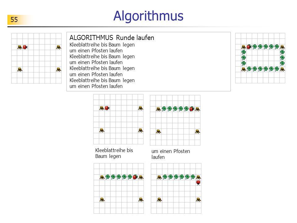 55 Algorithmus Kleeblattreihe bis Baum legen um einen Pfosten laufen ALGORITHMUS Runde laufen Kleeblattreihe bis Baum legen um einen Pfosten laufen Kl