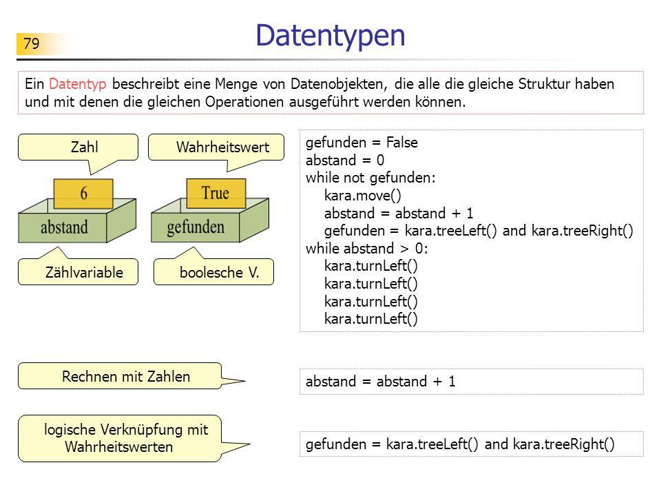 79 Datentypen Ein Datentyp beschreibt eine Menge von Datenobjekten, die alle die gleiche Struktur haben und mit denen die gleichen Operationen ausgefü