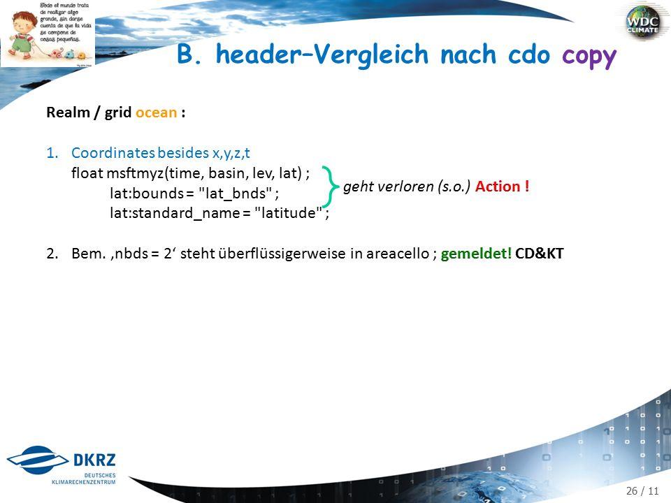 26 / 11 B. header–Vergleich nach cdo copy