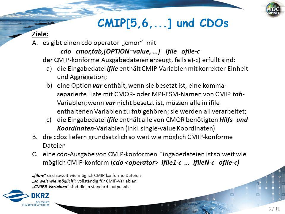 """3 / 11 CMIP[5,6,...] und CDOs Ziele: A.es gibt einen cdo operator """"cmor mit cdo cmor,tab,[OPTION=value,...] ifile ofile-c der CMIP-konforme Ausgabedateien erzeugt, falls a)-c) erfüllt sind: a)die Eingabedatei ifile enthält CMIP Variablen mit korrekter Einheit und Aggregation; b)eine Option var enthält, wenn sie besetzt ist, eine komma- separierte Liste mit CMOR- oder MPI-ESM-Namen von CMIP tab- Variablen; wenn var nicht besetzt ist, müssen alle in ifile enthaltenen Variablen zu tab gehören; sie werden all verarbeitet; c)die Eingabedatei ifile enthält alle von CMOR benötigten Hilfs- und Koordinaten-Variablen (inkl."""