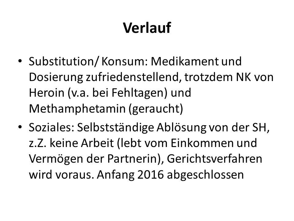 Verlauf Substitution/ Konsum: Medikament und Dosierung zufriedenstellend, trotzdem NK von Heroin (v.a.